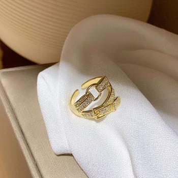 Дамски модерен пръстен широк модел с декоративни камъни