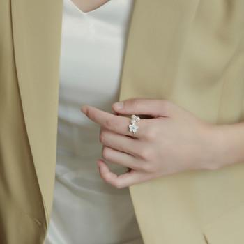 Стилен дамски пръстен с декоративни перли