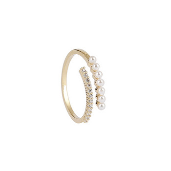 Дамски стилен пръстен тънък модел с декоративни перли