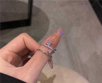 Стилен дамски пръстен широк модел с камъни