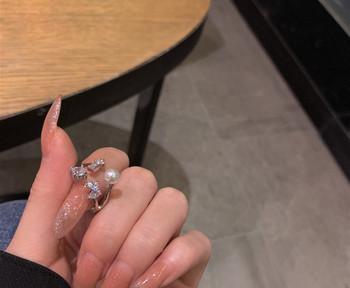 Дамски актуален пръстен с камъни и перла