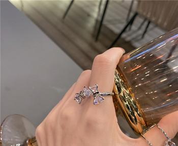 Актуален дамски пръстен с панделка и декоративни камъни