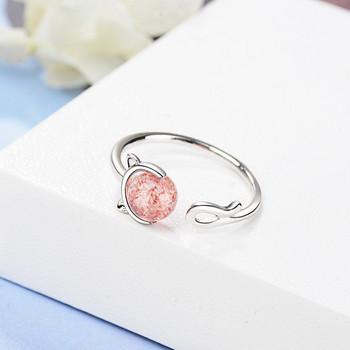 Ежедневен дамски пръстен с камък тънък модел