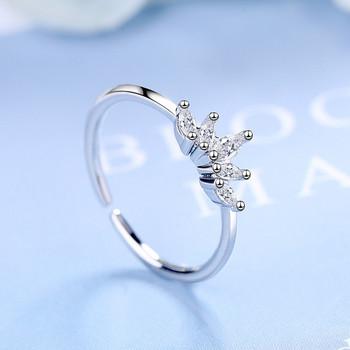 Стилен дамски пръстен с камъни тънък модел