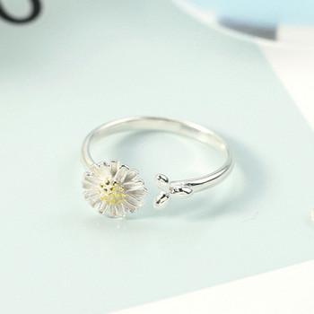 Актуален дамски пръстен с цвете тънък модел