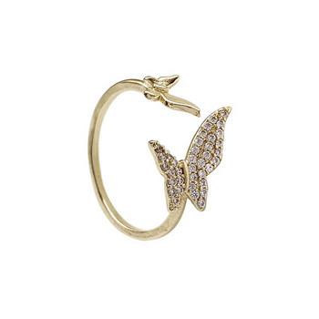 Дамски актуален пръстен с пеперуди и декоративни камъни