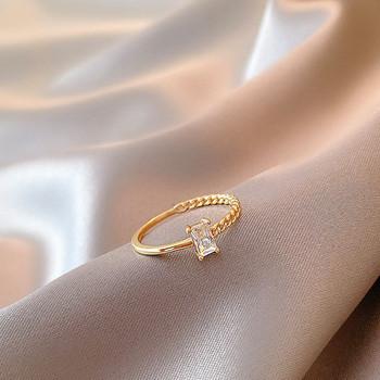 Елегантен дамски пръстен с камък тънък модел