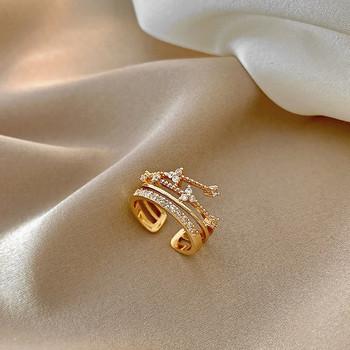 Модерен дамски широк пръстен с камъни