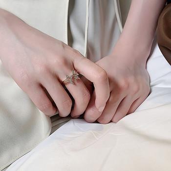 Ежедневен дамски пръстен със звезди широк модел