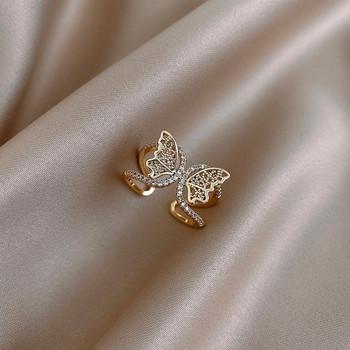 Дамски пръстен широк модел с пеперуда