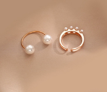 Комплект от два дамски пръстена с перли