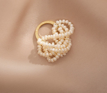 Стилен дамски пръстен с декоративни перли широк модел