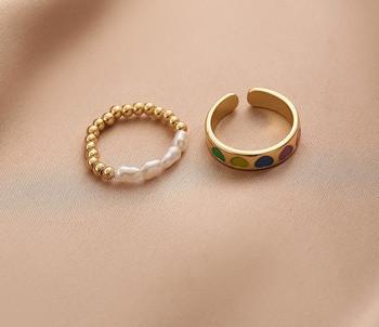 Комплект от два дамски пръстена с перли изчистен модел