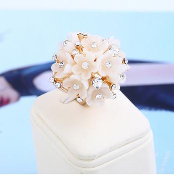 Дамски ежедневен пръстен с декоративни цветя