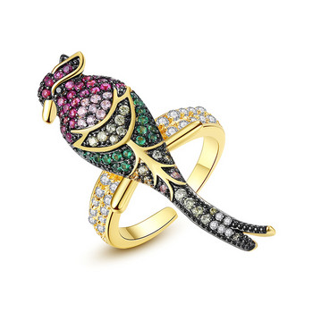 Дамски модерен пръстен с птица и декоративни камъни