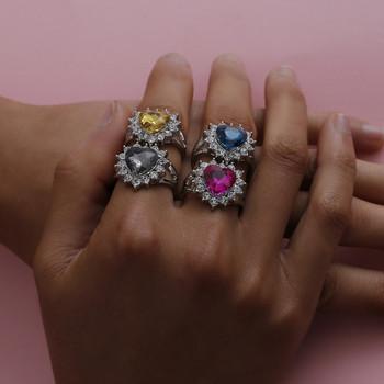 Дамски ежедневен пръстен с камък във формата на сърце