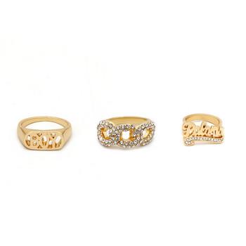 Модерен комплект от три дамски пръстена с камъни