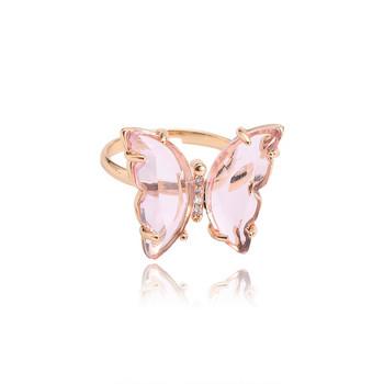 Дамски модерен пръстен с пеперуда и камъни