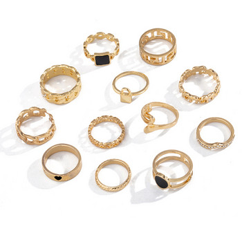 Комплект от дванадесет дамски пръстена с камъни
