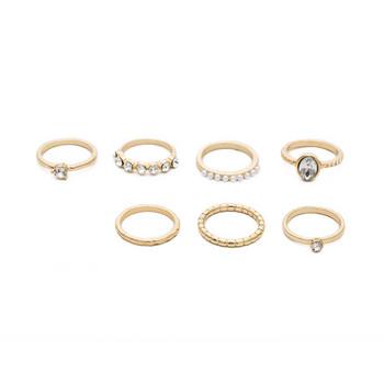 Актуален дамски комплект от седем  пръстена с камъни