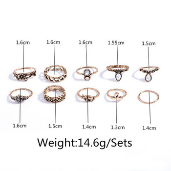 Дамски актуален комплект от пръстени с камъни