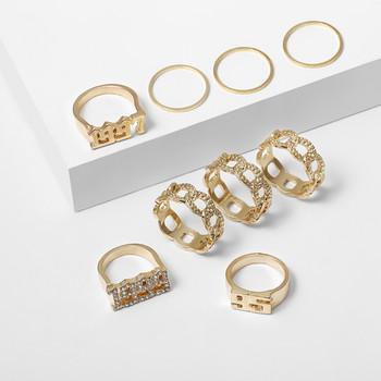 Стилен дамски комплект от девет пръстена