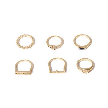 Модерен дамски комплект от шест пръстена с декоративни камъни