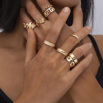 Стилен комплект от дамски пръстени изчистен модел