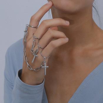 Дамски актуален комплект от пръстени с верижка и висулки