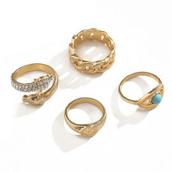 Модерен комплект от четири дамски пръстена с декоративни камъни