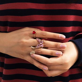 Дамски ежедневен комплект от три пръстена с пеперуда и сърце