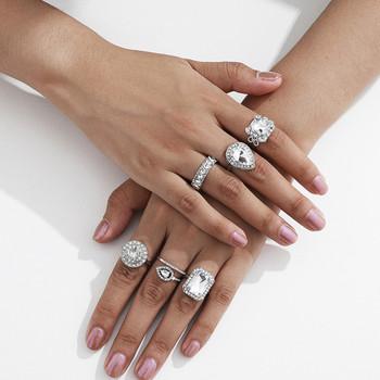 Стилен дамски комплект от шест пръстена с декоративни камъни