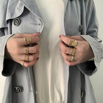 Ежедневен дамски комплект от пръстени с декоративни камъни