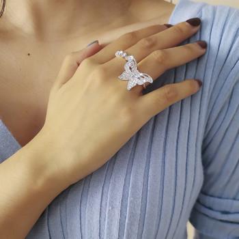 Модерен дамски комплект от два пръстена с пеперуда