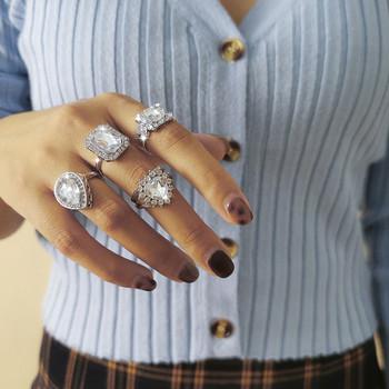 Стилен дамски комплект от четири пръстена