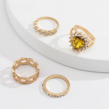 Дамски актуален комплект от четири пръстена с декоративни камъни