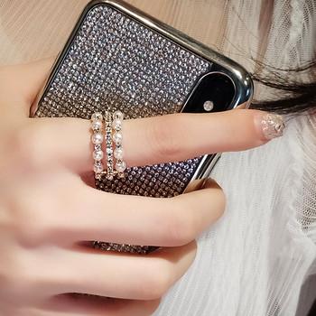 Дамски модерен пръстен с камъни и перли