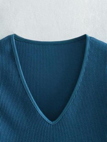 Γυναικείο  κορμάκι με λαιμόκοψη και κοντά μανίκια σε μπλε χρώμα