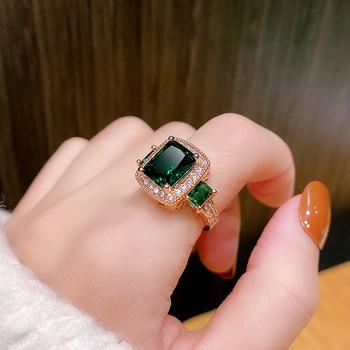 Стилен дамски пръстен - квадратна форма с декоративен камък