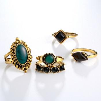 Дамски модерен комплект от пет пръстена с декоративни камъни