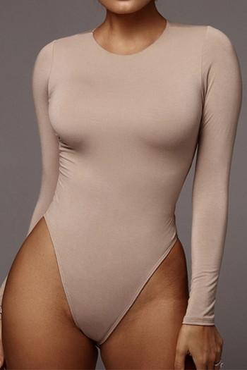 Дамско боди с овално деколте и дълъг ръкав в четири цвята