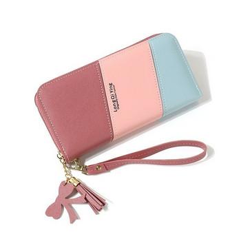 Γυναικείο έκο δερμάτινο πορτοφόλι με φερμουάρ
