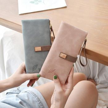 Νέομοντέλο γυναικείο πορτοφόλι με φύλλα κεντήματος