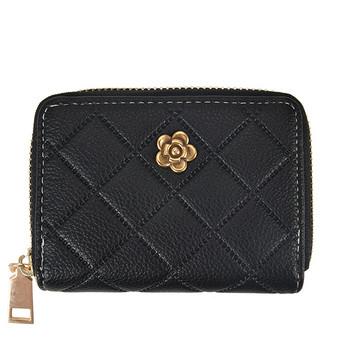Γυναικείο πορτοφόλι καθημερινό με φερμουάρ και μεταλλικό στοιχείο