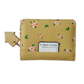 Γυναικείο κλασικό μοντέλο πορτοφόλι από οικολογικό δέρμα με λουλούδια