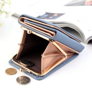 Γυναικείο έκο δερμάτινο πορτοφόλι με τσέπη σε διάφορα χρώματα