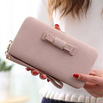 Νέο γυναικείο έκο δερμάτινο πορτοφόλι με κορδέλα σε διάφορα χρώματα