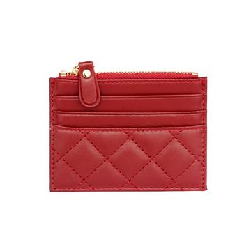 Γυναικείο έκο δερμάτινο πορτοφόλι με τσέπες και φερμουάρ