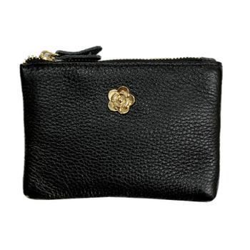 Γυναικείο πορτοφόλι με φερμουάρ και μεταλλικό στοιχείο σε διάφορα χρώματα