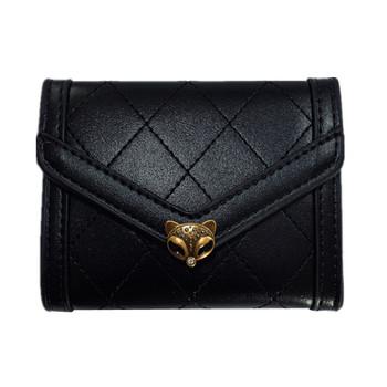 Νέο μοντέλο γυναικείο έκο δερμάτινο πορτοφόλι με διακόσμηση σε μαύρο χρώμα
